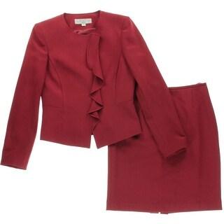Tahari ASL Womens Petites Monica Skirt Suit Ruffled 2PC