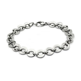"Stainless Steel Women's ""O"" Link Bracelet with Lobster Clasp 8 Inches"
