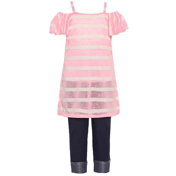 c1031c87785e5 Shop Girls Pink Stripe Pattern Off-Shoulder Top 2 Pc Pant Outfit - Free  Shipping On Orders Over  45 - Overstock - 20103376