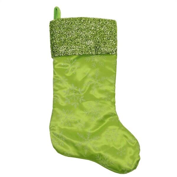 "20"" Green Iridescent Glittered Snowflake Christmas Stocking with Metallic Cuff"