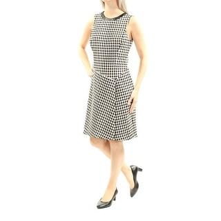 RALPH LAUREN $159 Womens New 1347 Black Houndstooth Textured Dress 10 B+B