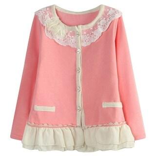 Richie House Girls Pink Jersey Braided Placket Sweet Cardigan 6-8
