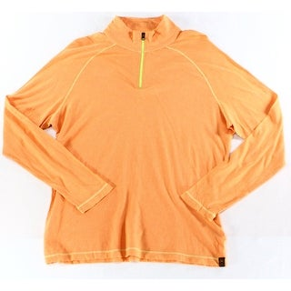 Agave NEW Orange Mens Size Small S 1/2 Zip Mock-Neck Sweater
