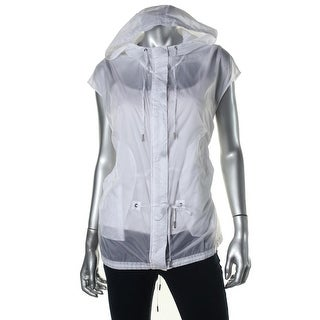 Pure DKNY Womens Water Resistant Hooded Outerwear Vest - S