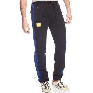 LRG Indie Sport Fleece Pants Black and Blue Stripe Sweatpants X-Large