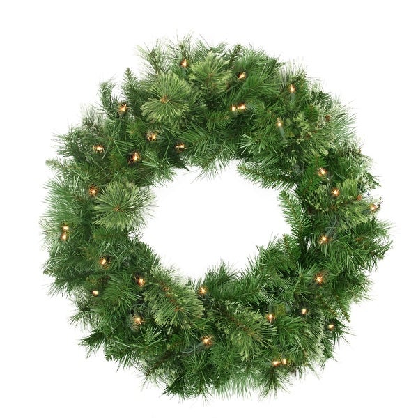 """24"""" Pre-Lit Mixed Cashmere Pine Artificial Christmas Wreath - Clear Lights"""