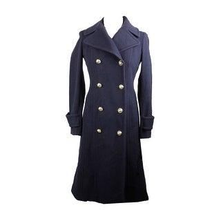 Anne Klein Navy Double-Breasted Wool-Blend Walker Coat - 2