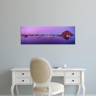 Easy Art Prints Panoramic Image 'Boats moored at a harbor, Morro Bay Harbour, Morro Bay, California, USA' Canvas Art