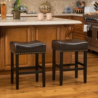 Link to Laramie Bonded Leather Backless Counter stools (Set of 2) by Christopher Knight Home Similar Items in Dining Room & Bar Furniture