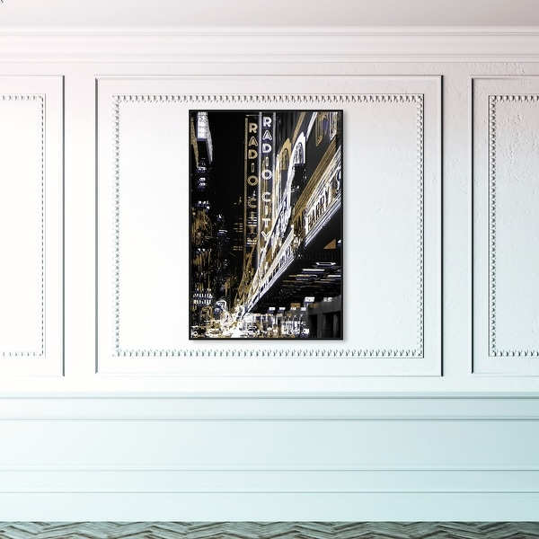Oliver Gal 'Radio City Music Hall' Cities and Skylines Wall Art Framed Canvas Print United States Cities - Gold, Black. Opens flyout.