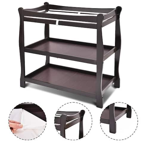 Costway Espresso Sleigh Style Baby Changing Table Infant Newborn