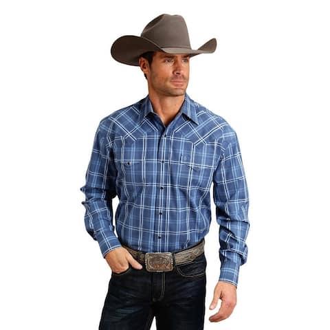 Stetson Western Shirt Mens Plaid L/S Snap Blue