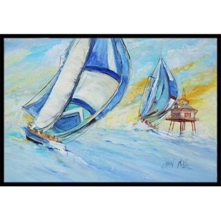 Carolines Treasures JMK1005JMAT Sailboats And Middle Bay Lighthouse Indoor & Outdoor Mat 24 x 36 in.