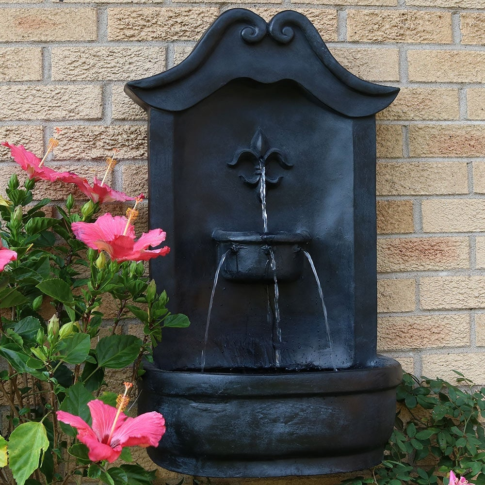 Sunnydaze French Lily Solar Powered Outdoor Wall Water Fountain with Battery Backup Patio Waterfall Decor Feature Lead Finish 33-Inch Pump and Panel