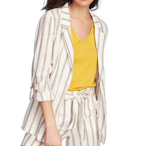 1. State Women's Jacket Cream Beige Size 6 Cabana Stripe Collar