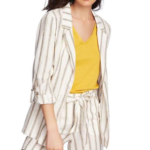 1. State Womens Jacket Beige Size 6 Cabana Stripe Blazer Notch Lapel