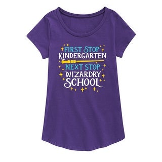 Wizardry School Kindergarten - Youth Girl Short Sleeve Curved Hem Tee (4 options available)