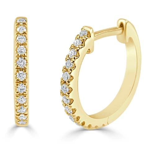 Joelle Diamond Huggie Earring For Her - 14k Gold Earrings 1/10 CTTW U-Shaped Hoops With Certified Diamonds Gifts for Her