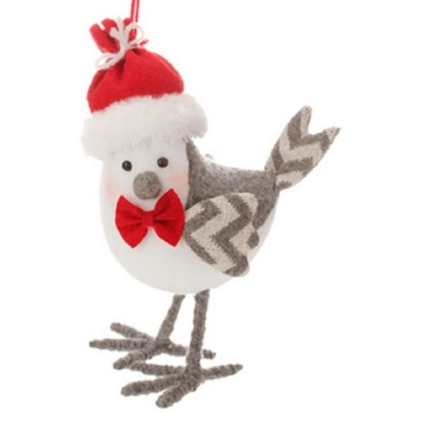 """8.75"""" Alpine Chic White and Gray Bird Wearing a Bow Tie Christmas Ornament"""