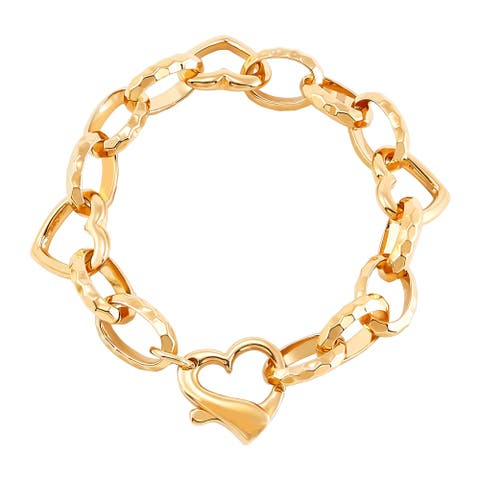 Italian-Made 18K Gold-Plated Bronze Heart Link Bracelet, 8 Inches - Yellow