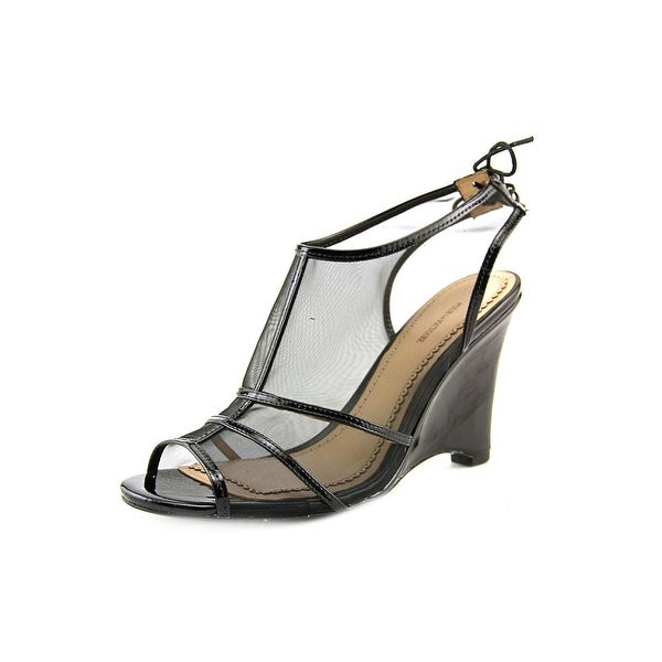 Pour La Victoire Bee Women Open Toe Synthetic Black Wedge Sandal