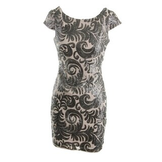 Adrianna Papell Womens Petites Chiffon Sequined Cocktail Dress