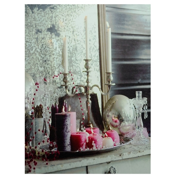 "LED Lighted Regal Romance Candleabra Christmas Canvas Wall Art 15.75"" x 12"" - N/A"