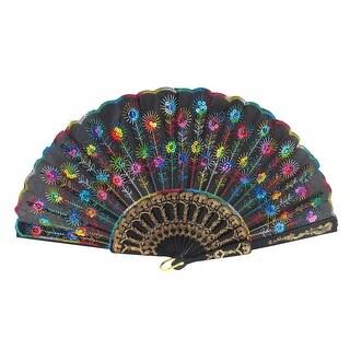 Unique Bargains Colorful Sequins Decor Hollow Out Plastic Frame Dancing Folding Hand Fan Black