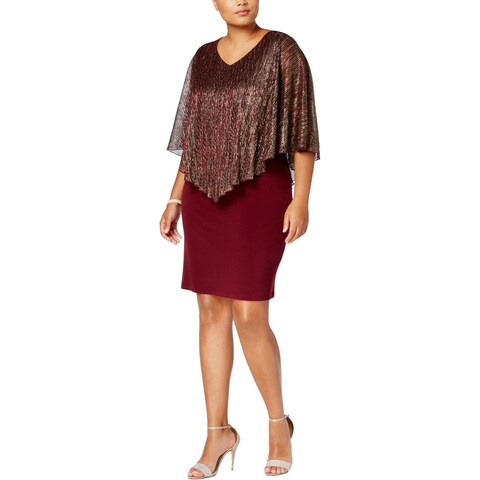 Connected Apparel Womens Plus Evening Dress Shift Party