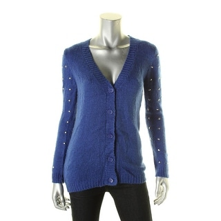 Say What? Womens Cardigan Sweater Studded V-neck - s