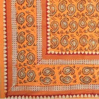 Handmade Cotton Block Print Dabu Paisley Floral Tapestry Tablecloth Spread Full