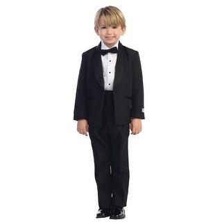 Baby Boys Black No Tail Round Shawl Collar Elegant 5 Pc Tuxedo Suit