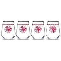 Game of Thrones  Targaryen Dragon Stemless Wine Glass - Pack of 4