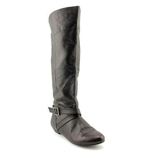 Chinese Laundry Newbie Women Round Toe Leather Black Knee High Boot