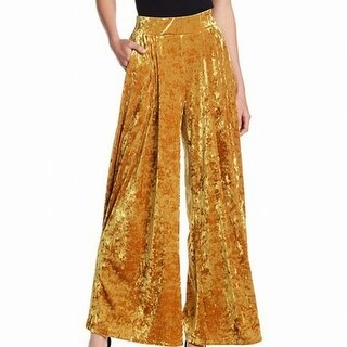 Free Press Gold Womens Large L Stretch Crushed Velvet Flare Pants