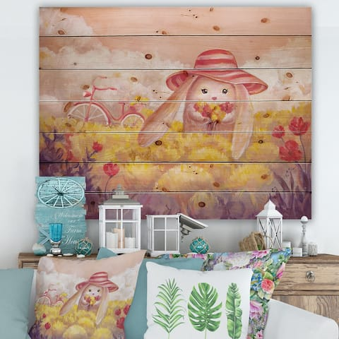 Designart 'Little Bunny With Flowers' Traditional Print on Natural Pine Wood