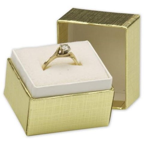 1.5 x 1.25 x 1.5 in. Jewelry Boxes, Gold Linen