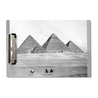 Pyramids and Three Riders on Camels Vintage Photo (Acrylic Clipboard)