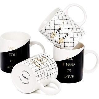 Link to Bruntmor Set Of 4 Ceramic New Bone China Romantic Love Inspirational Coffee/Tea Mug set with gold decal designs, 11 Oz. Similar Items in Dinnerware
