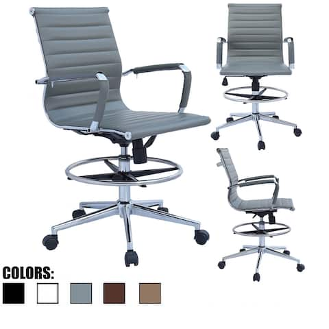 Drafting Chair with Arms For Office Ribbed Counter Height Bar Office Wheels Rest Swivel Work Standing Desk Footrest