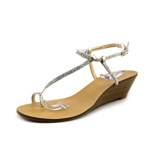 INC International Concepts Mystik Open Toe Synthetic Wedge Sandal