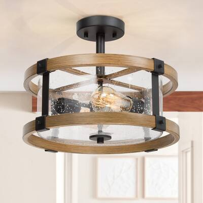Farmhouse 2-light Semi-Flush Ceiling Light Fixture with Clear Seeded Glass Shade for Bedroom/ Hallway/ Kitchen/ Dining Room