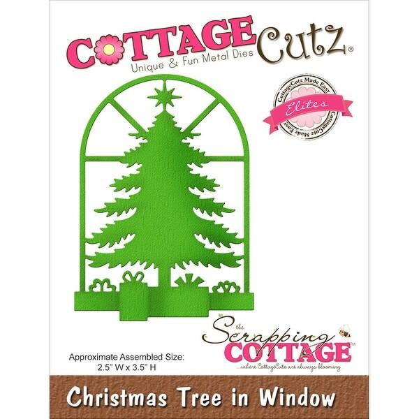 "CottageCutz Elites Die -Christmas Tree In Window 2.5""X3.5"""