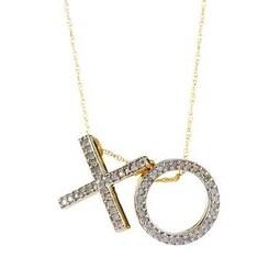 """14K Gold White Diamond """"XO"""" Pendant with Chain"""