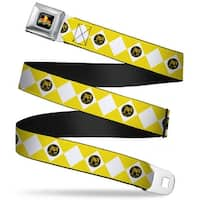 Power Rangers Logo Full Color Diamond Yellow Ranger Webbing Seatbelt Belt Seatbelt Belt Standard