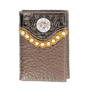 PBR Western Wallet Mens Rawhide Leather Trifold Mahogany 5621802 - One size