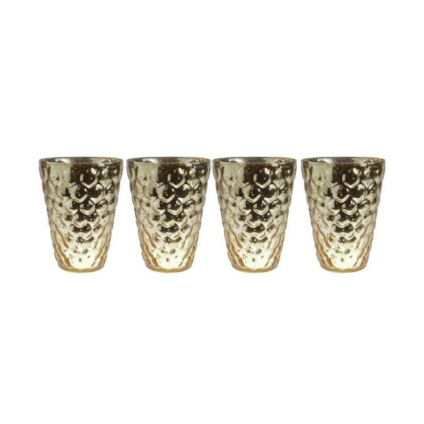 Set of 4 Gold and Silver Textured Mercury Glass Decorative Votive Candle Holders 4.5""