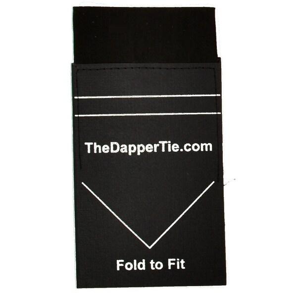 TheDapperTie - Men's Solid Flat Pre Folded Pocket Square on Card - regular