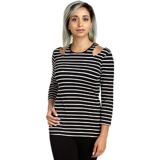 Cable & Gauge Women's Elbow Sleeve V Slit Shoulder Stripe Tunic Tee