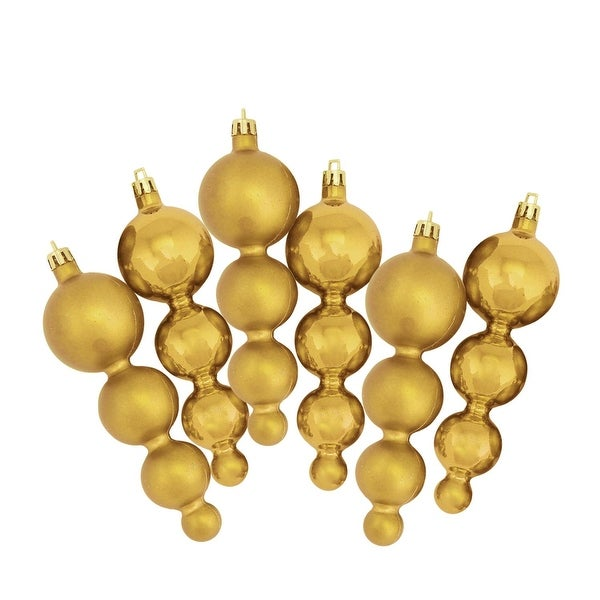 6ct Shiny and Matte Vegas Gold Finial Shatterproof Christmas Ornaments 5.75""